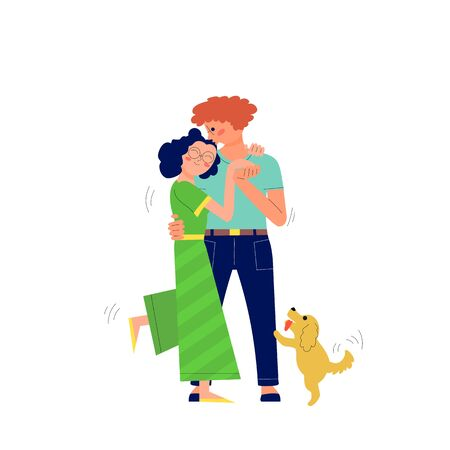 Young couple of man and woman is hugging and kissing outdoors, dancing, walking with their dog. Isolated on white. Stock vector illustration. Standard-Bild - 132813321