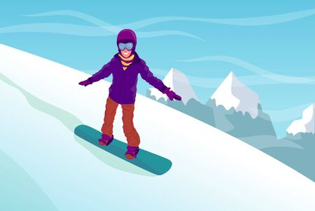 Woman or man riding snowboard down the hill, mountain landscape. Enjoying winter sport outdoors. Flat style stock vector illustration.