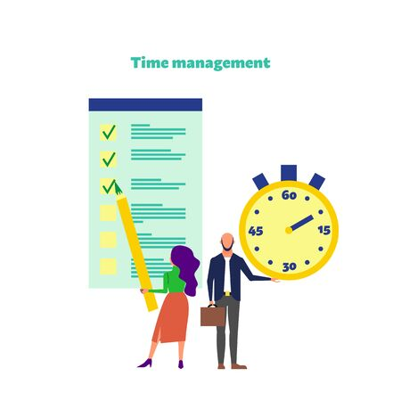 Time management concept. Woman holds big pencil standing near big to do list and man holds big stopwatch. Time management text. Flat style stock vector. Isolated on white.