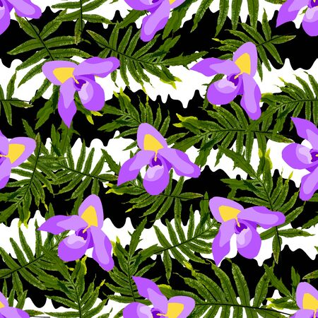 Colorful trendy seamless pattern with orchid flowers, white and black stripes, tropical leaves. Flat style stock vector illustration.