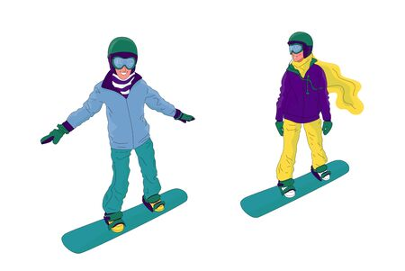 Couple of young people, man and woman, are snowboarding. Flat style stock vector illustration.. Foto de archivo - 133513801