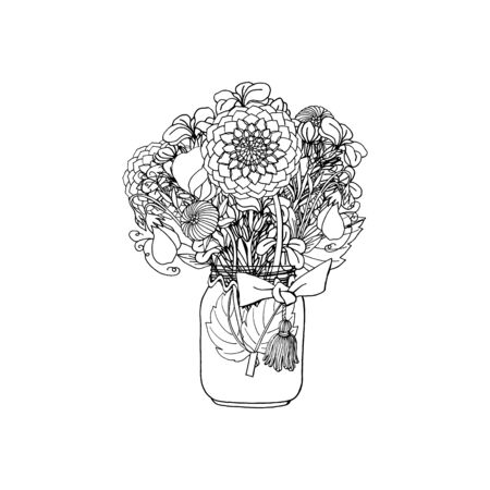 Hand drawn doodle style bouquet of different flowers, dahlia, stock flower, sweet pea. isolated on white background. stock vector illustration 일러스트