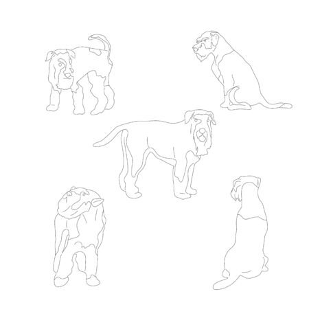 Set of terrier dogs, collection of dog poses. Isolated on white background. Flat style cartoon stock vector illustration..