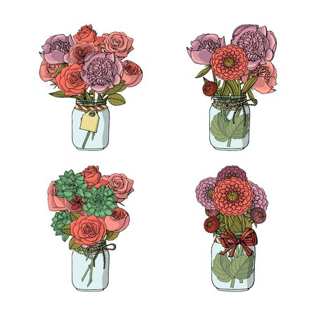Hand drawn doodle style bouquets of different flowers, succulent,peony,rose,dahlia. isolated on white background. stock vector illustration