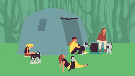 Group of girls sitting near tents with terrier dogs. Open air dog show attendants. Camping with pets. Flat style cartoon stock vector Foto de archivo - 133513892
