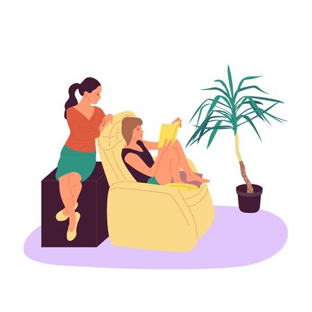 Two girls are sitting in armchair and reading book together in cosy room with potted tropical plants. Isolated on white background.