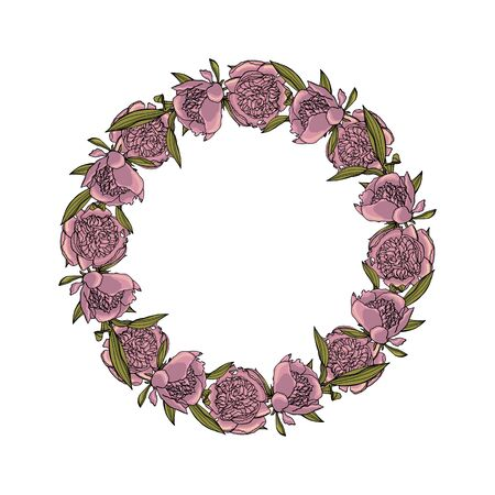 Hand drawn doodle style peony flower wreath. floral design element.