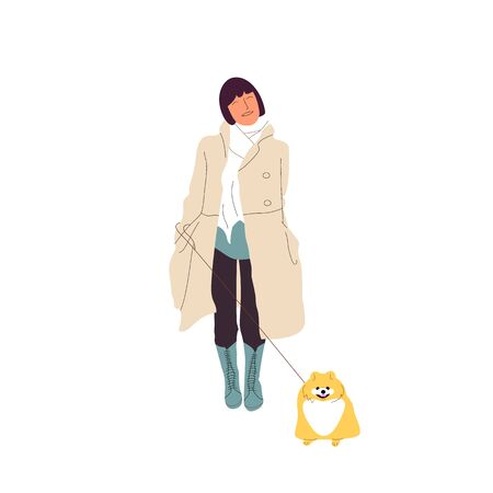 Young girl is walking with a pomeranian spitz, dog on a leash. Isolated on white background. Flat style cartoon stock vector