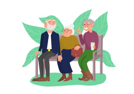 Three old friends sit on bench in park, happy elderly people enjoying outdoors, cheerful friendly chat of retired couple and friend