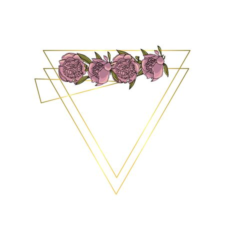 Hand drawn doodle style violet peony flower wreath with polygonal garland, vintage geometric frame, floral design element.