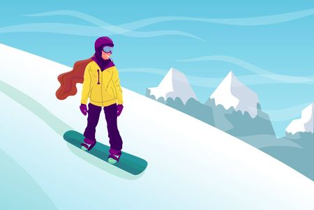 Woman riding snowboard down the hill, mountain landscape. Enjoying winter sport outdoors. Flat style stock vector illustration