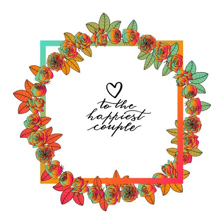 Hand drawn doodle style rose flowers wreath around square frame. floral design element.