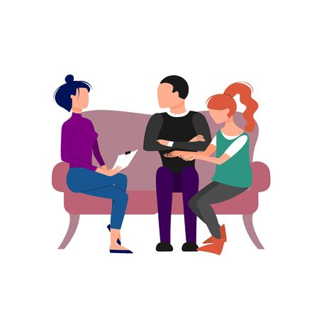 Couple having an appointment with therapist. Isolated on white background. Flat style stock vector illustration Vettoriali