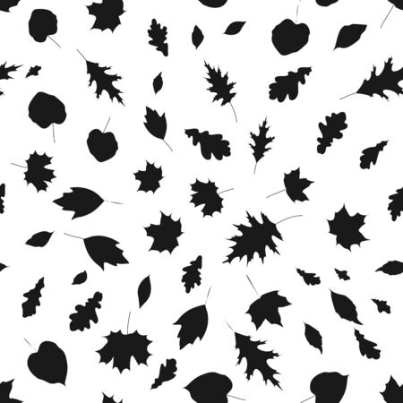 Monochrome seamless pattern with autumn leaves on white background, stock vector illustration. Illustration