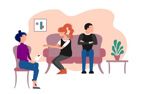 Married caucasian couple having therapeutical meeting at psychologist office. Flat style stock vector illustration.