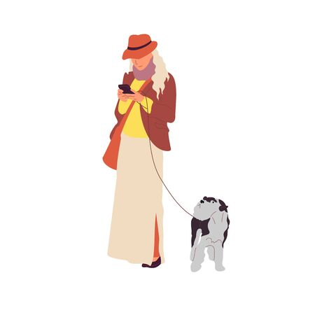 Young girl is walking with a terrier dog on a leash. Holding smartphone. Isolated on white background. Flat style cartoon stock vector illustration..