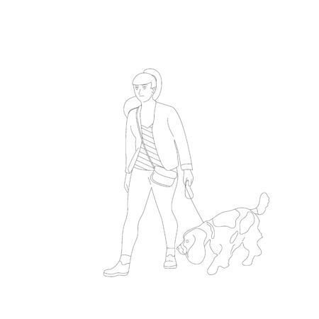 Young girl is walking with a french, spaniel, setter dog on a leash. Isolated on white background. Flat style cartoon stock vector illustration.. Illustration