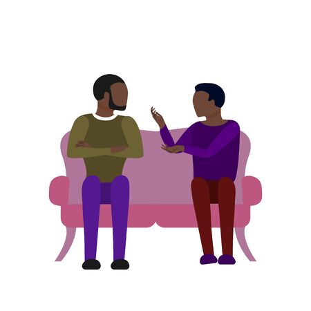 Black couple of two adult men are talking sitting on sofa. Argue, fight, angry conversation. Flat style stock vector illustration. Illustration