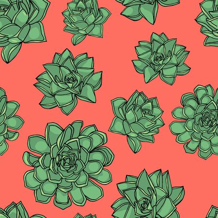 Hand drawn doodle style seamless pattern with common houseleek, Sempervivum tectorum succulents. pink background. stock vector illustration 일러스트