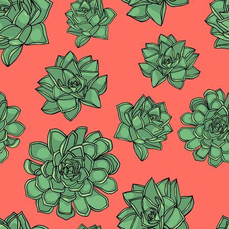Hand drawn doodle style seamless pattern with common houseleek, Sempervivum tectorum succulents. pink background. stock vector illustration Illustration