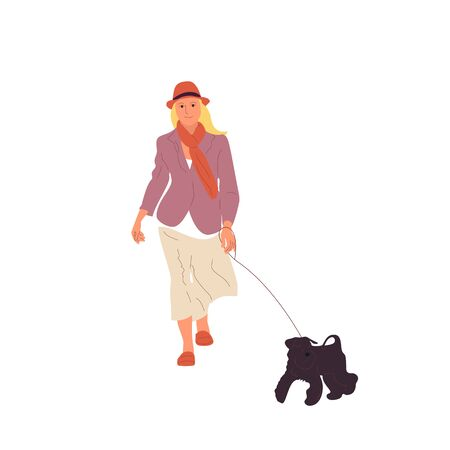 Young girl is walking with a black terrier dog on a leash. Isolated on white background. Flat style cartoon stock vector