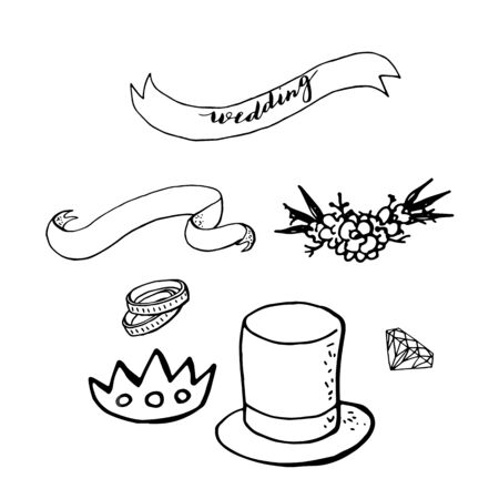 wedding clipart with blue cylinder hat, ribbons, rings, diadem. design elements for wedding.