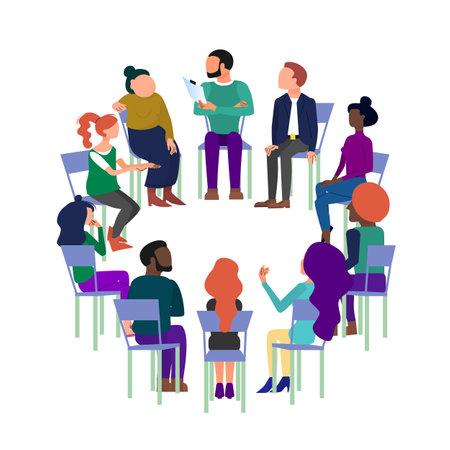 Arte conceptual de terapia de grupo, reunión de lluvia de ideas, gente sentada en círculo, club anónimo. Aislado sobre fondo blanco. Ilustración de vector
