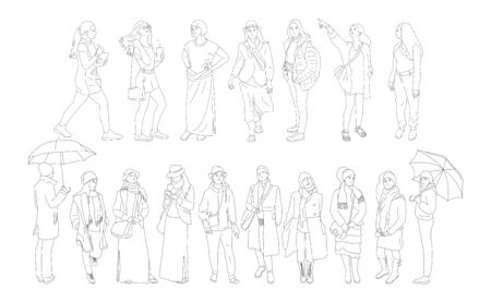 Set of different people characters in casual outfit.