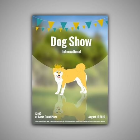 Poster template for dog show with shiba inu in golden crown