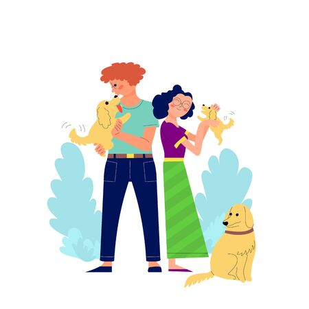 Young couple of man and woman is hugging and kissing outdoors, walking with their dog. Stock vector Illustration