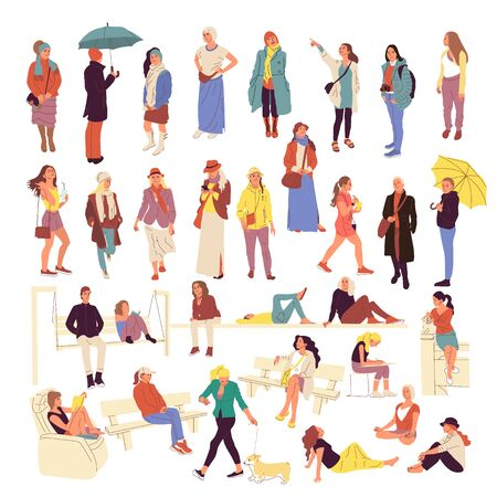 Set of different people characters in casual outfit. Crowd in different poses, walking, standing outdoors Illustration