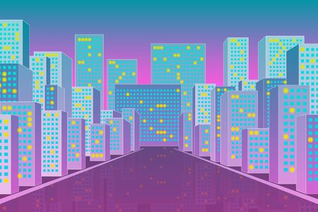 Modern city scape perspective view, street with buildings and a road, night lights, urban trendy background. Stock vector illustration