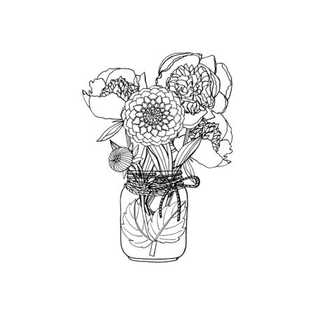 Hand drawn doodle style bouquet of different flowers, peony, dahlia. isolated on white background. stock vector illustration