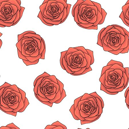 Hand drawn doodle style rose flowers seamless pattern. white background. stock vector illustration