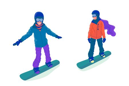 Couple of young people, man and woman, are snowboarding. Flat style stock vector illustration..