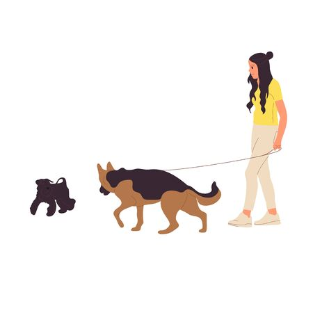 Young girl is walking with a german shepherd.dog on a leash. Isolated on white background. Flat style cartoon stock vector illustration..