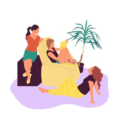 Three girls are sitting in armchair and reading book together in cosy room with potted tropical plants. Isolated on white background. Flat style cartoon stock vector illustration.. Illustration