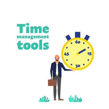 Time management concept. Man holds big stopwatch. Time management tools text. Flat style stock vector illustration. Isolated on white background. Illustration