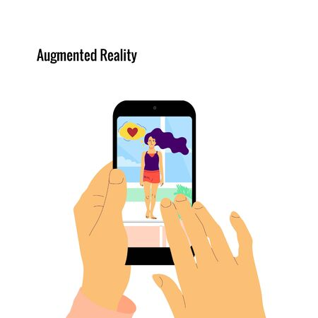 Human hand is holding smartphone with augmented reality app on screen showing hologram of a woman. Interior of a room. Flat style stock vector illustration.