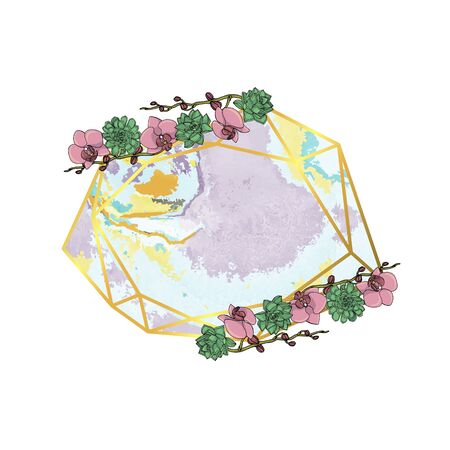 Hand drawn doodle style succulent and orchid flower wreath with polygonal garland, vintage geometric frame, floral design element. isolated on white background. stock vector illustration