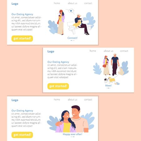 Dating agency landing page user interface design template set, happy couple meeting and falling in love. Stock vector