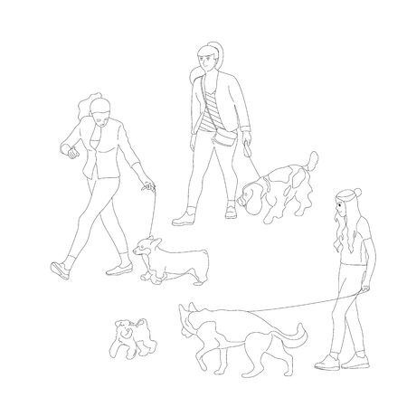 Set of three girls walking with dogs on a leash. Isolated on white background. Flat style cartoon stock vector illustration..