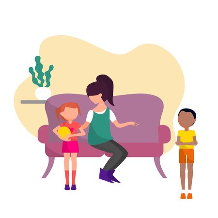 Mother is talking with two siblings, upset boy and girl who took his toy. Flat style stock vector illustration. Illusztráció