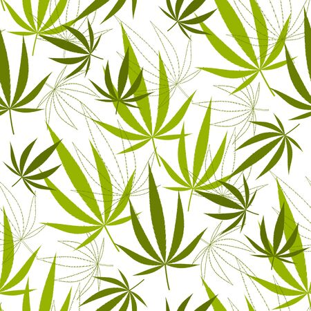 Seamless pattern with hemp leaves. Stock vector illustration.