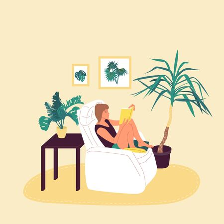 Girl is sitting in armchair and reading book in cosy room with potted tropical plants. Isolated on white background. Flat style cartoon stock vector illustration..
