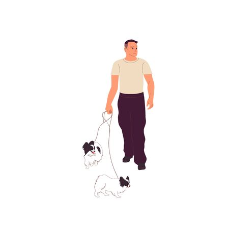 Young man in casual outfit is walking with two small papillon dogs on a leash. Isolated on white background. Flat style cartoon stock vector illustration.