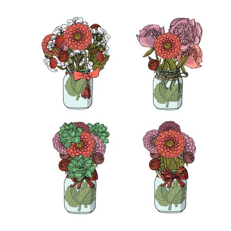 Hand drawn doodle style bouquets of different flowers, succulent, dahlia, stock flower, sweet pea, peony. isolated on white background. stock vector illustration