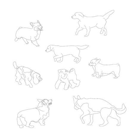 Set of black and white multiple breed dogs, corgi, retriever, shepherd, terrier, spaniel. Isolated on white background. Flat style cartoon stock vector illustration.. Illustration