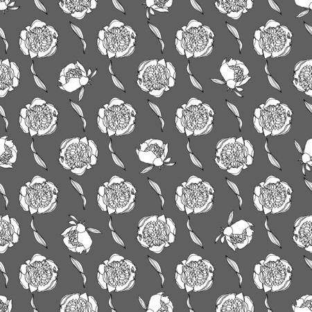 Seamless pattern with peony flowers, nature floral background, stock vector illustration..