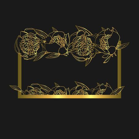 Hand drawn doodle style golden peony flower wreath. floral design element. isolated on black background. stock vector illustration Illustration